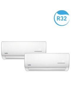 Os Conjuntos Murais All Easy-Gama Comercial R32 Haice distinguem-se pela fácil instalação, manutenção, limpeza e controlo, e estão disponíveis em combinações de: 9+9, 9+12, 9+9+9, 9+9+12. Com mais espaço para as ligações eléctricas e um terminal de ligações maior, possibilita uma instalação mais rápida poupando tempo de trabalho e standardizando procedimentos de forma mais intuitiva. O PCB das unidades são comuns entre eles e os componentes electrónicos são facilmente removíveis. O AllEasy apresenta ainda o painel inferior destacável que permite uma fácil remoção de ventilador/motor. Relativamente à limpeza, os filtros são facilmente removíveis, evitam a queda de pó e potencia a qualidade do ar, prolongando a boa qualidade do ar condicionado. Conheça a Tabela de Seleção Rápida para Conjuntos Multi-Split aqui.